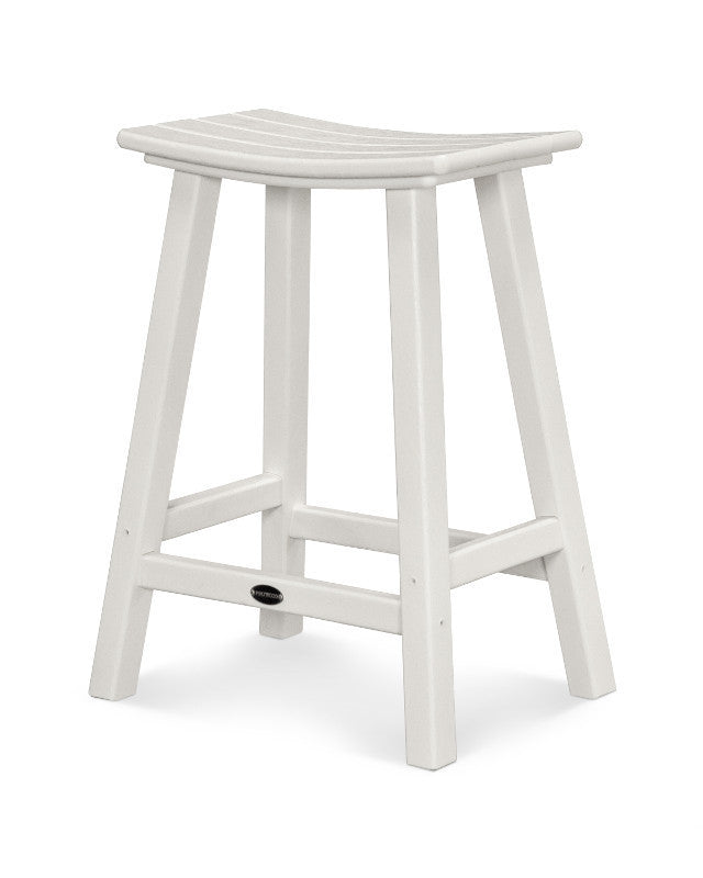 "Traditional 24"" Saddle Bar Stool White"