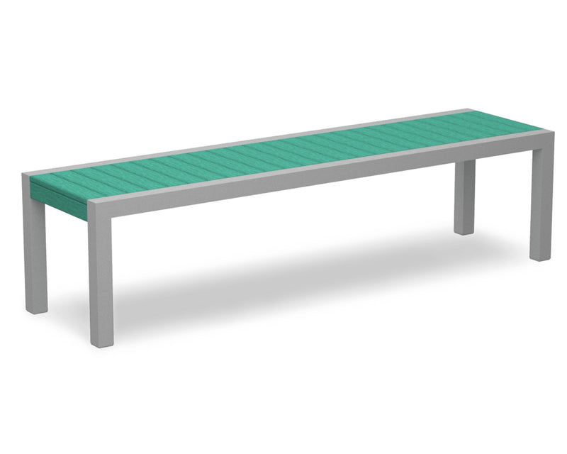3800-11AR MOD Bench in Textured Silver & Aruba