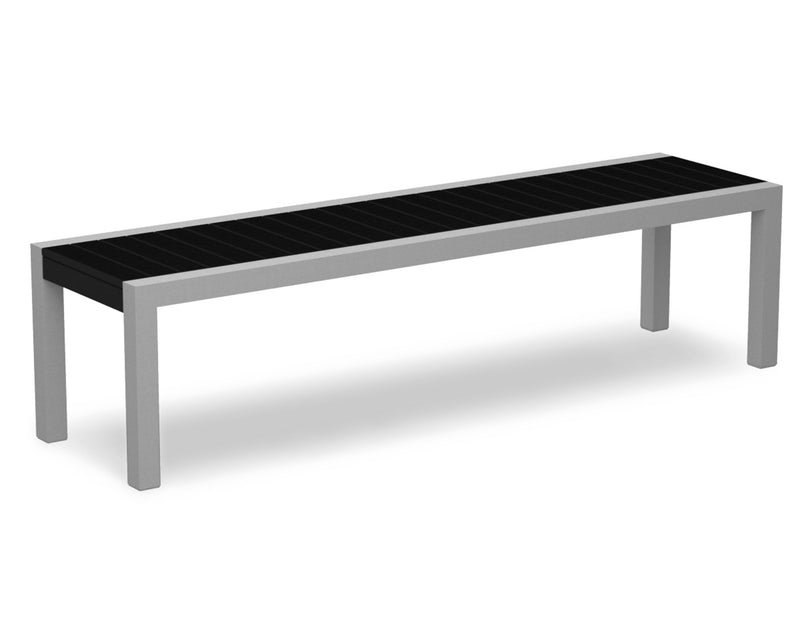 3800-11BL MOD Bench in Textured Silver & Black