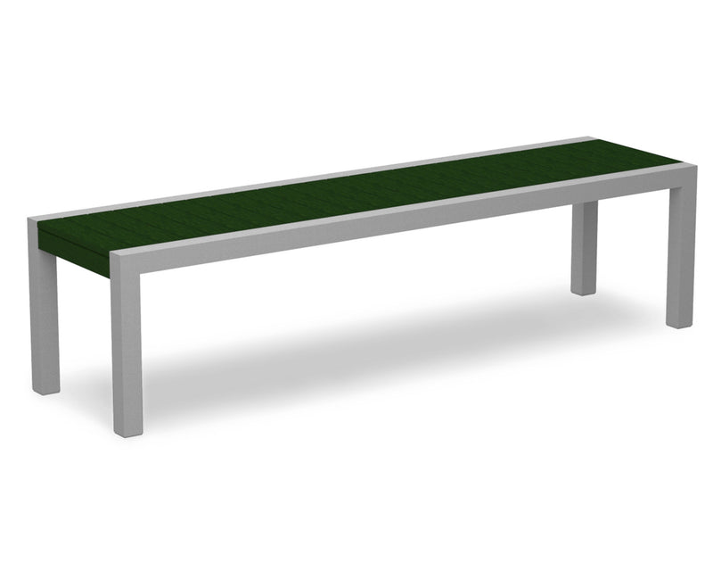 3800-11GR MOD Bench in Textured Silver & Green
