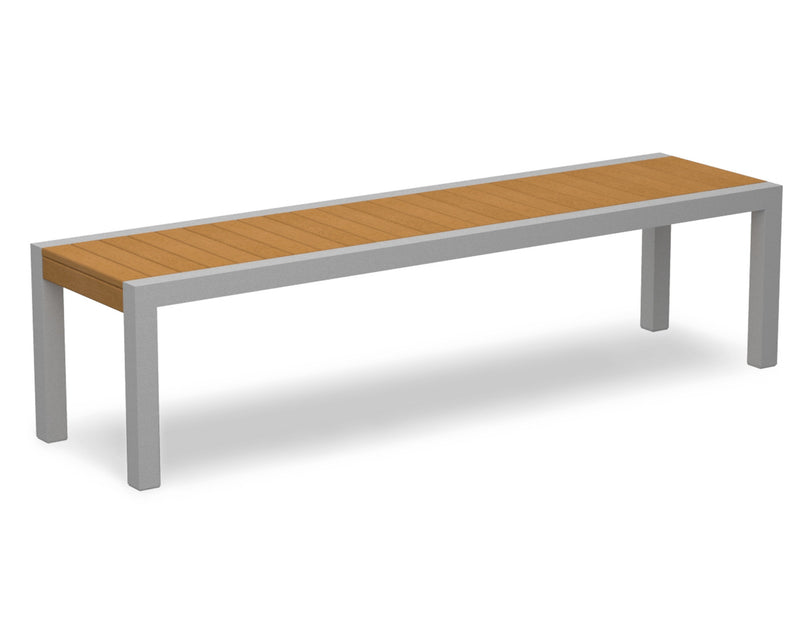 3800-11NT MOD Bench in Textured Silver & Plastique Natural Teak