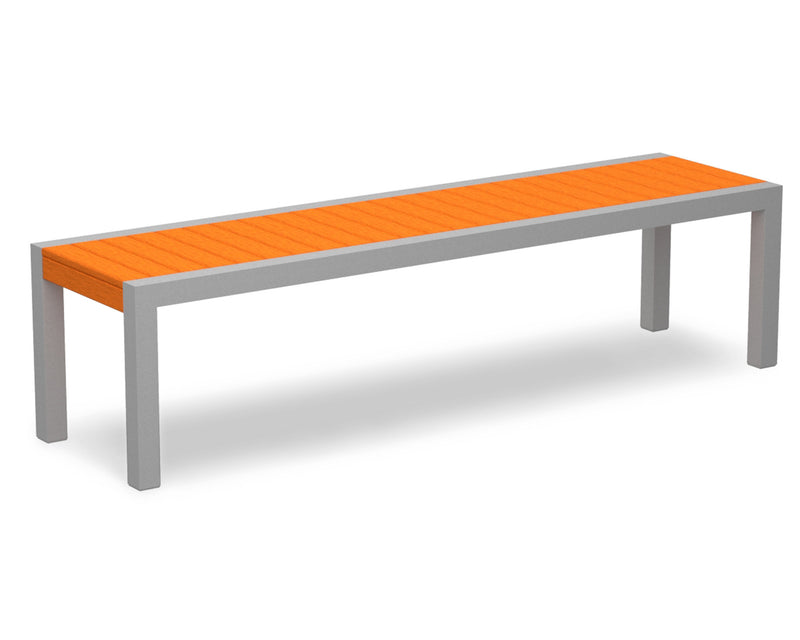 3800-11TA MOD Bench in Textured Silver & Tangerine