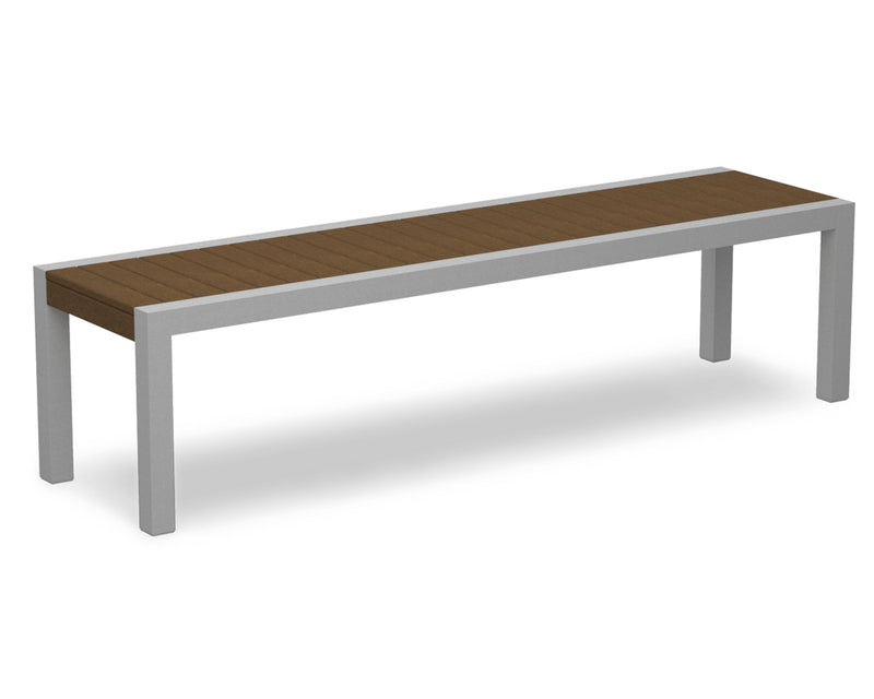 3800-11TE MOD Bench in Textured Silver & Teak