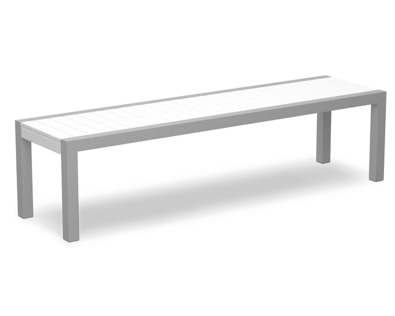 3800-11WH MOD Bench in Textured Silver & White