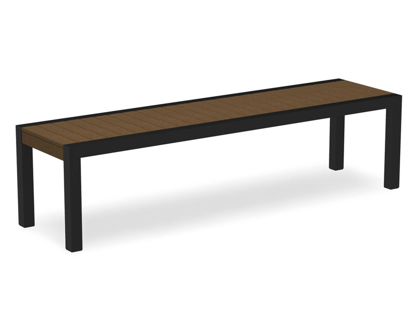 3800-12TE MOD Bench in Textured Black & Teak
