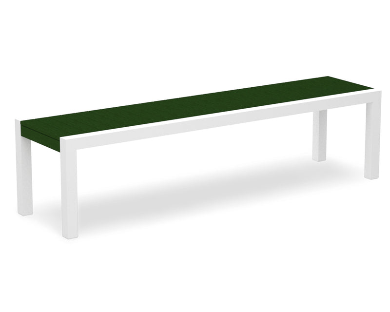 3800-13GR MOD Bench in Satin White & Green