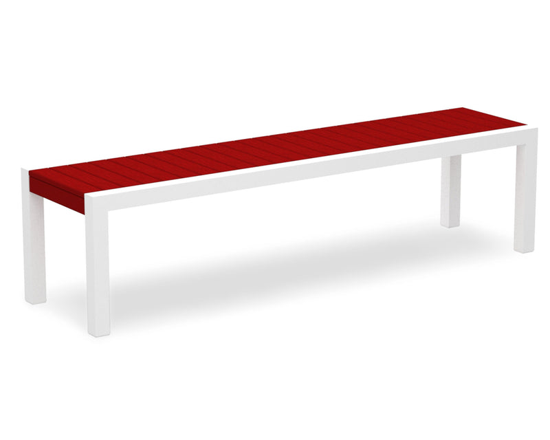 3800-13SR MOD Bench in Satin White & Sunset Red