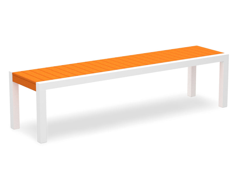 3800-13TA MOD Bench in Satin White & Tangerine