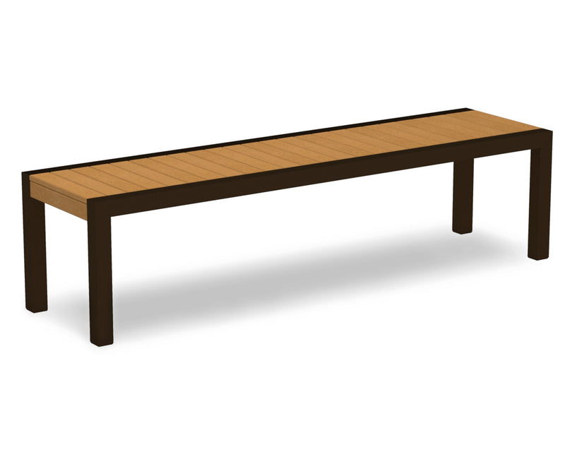 3800-16NT MOD Bench in Textured Bronze & Plastique Natural Teak
