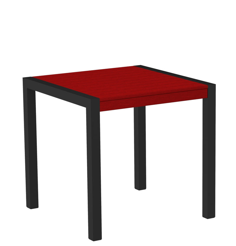 "8000-12SR MOD 30"" Dining Table Textured Black in Sunset Red"