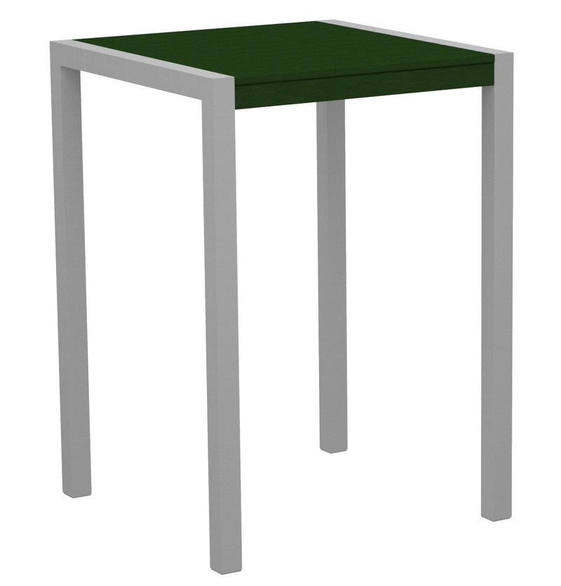 "8002-11GR MOD 30"" Bar Table in Textured Silver & Green"