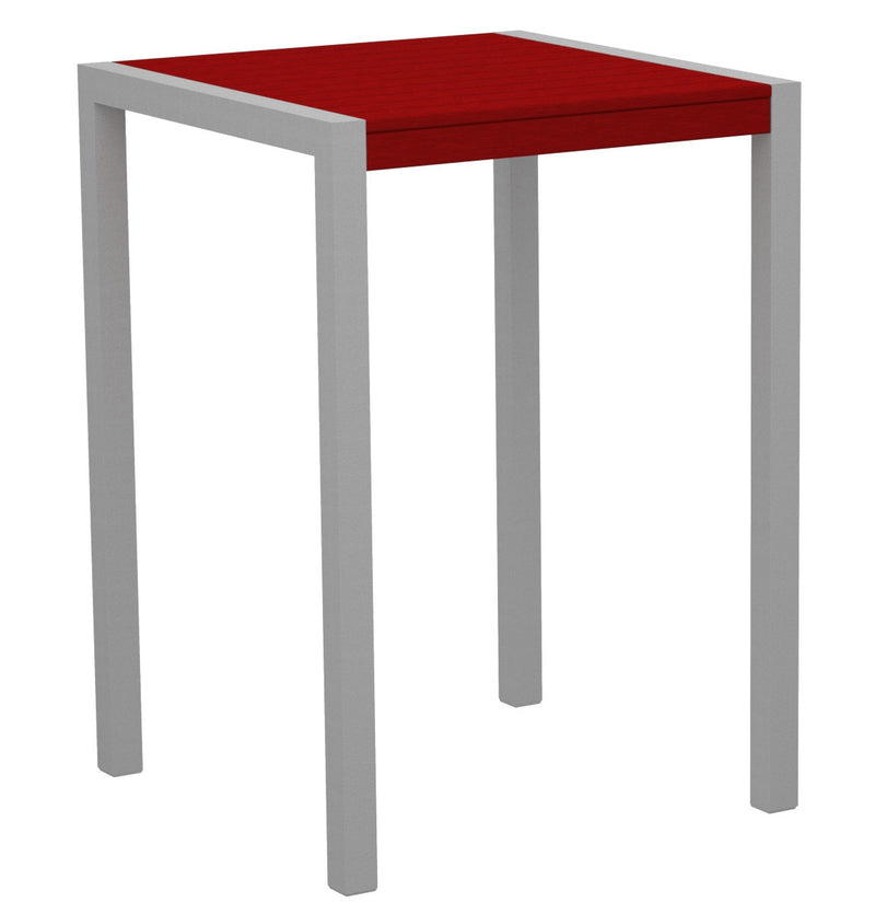"8002-11SR MOD 30"" Bar Table in Textured Silver & Sunset Red"