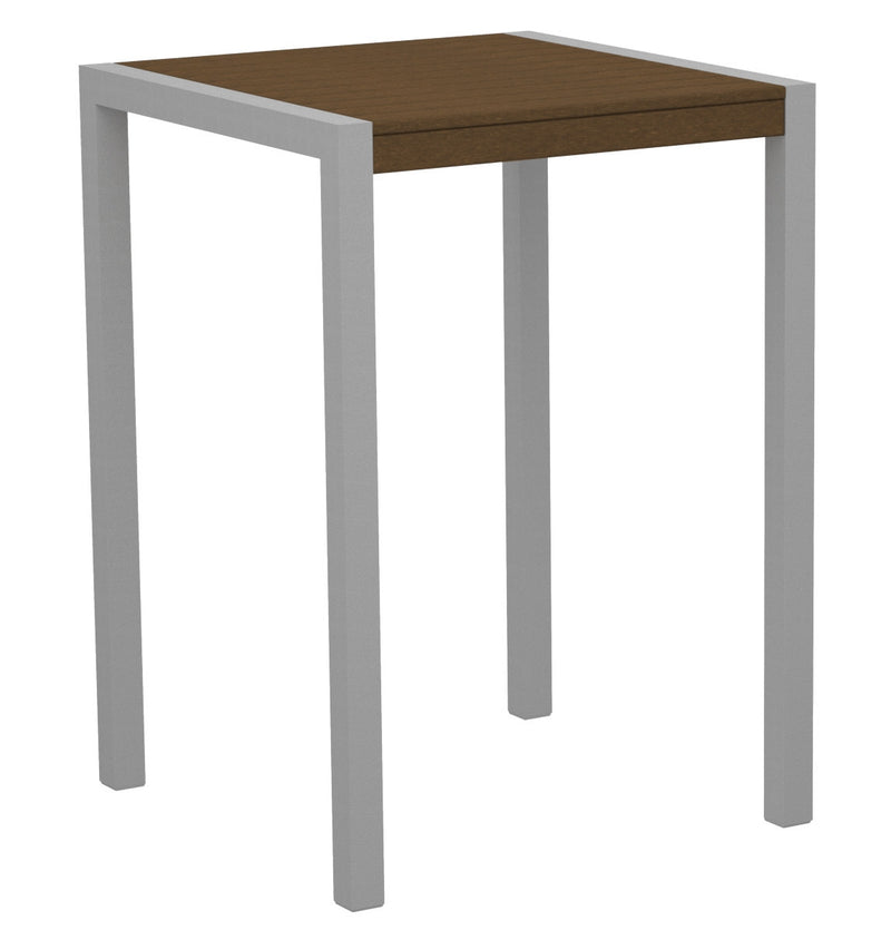 "8002-11TE MOD 30"" Bar Table in Textured Silver & Teak"