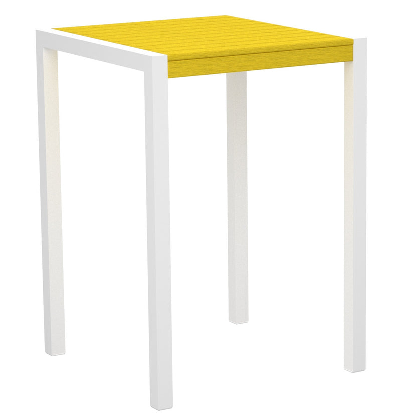 "8002-13LE MOD 30"" Bar Table in Satin White & Lemon"