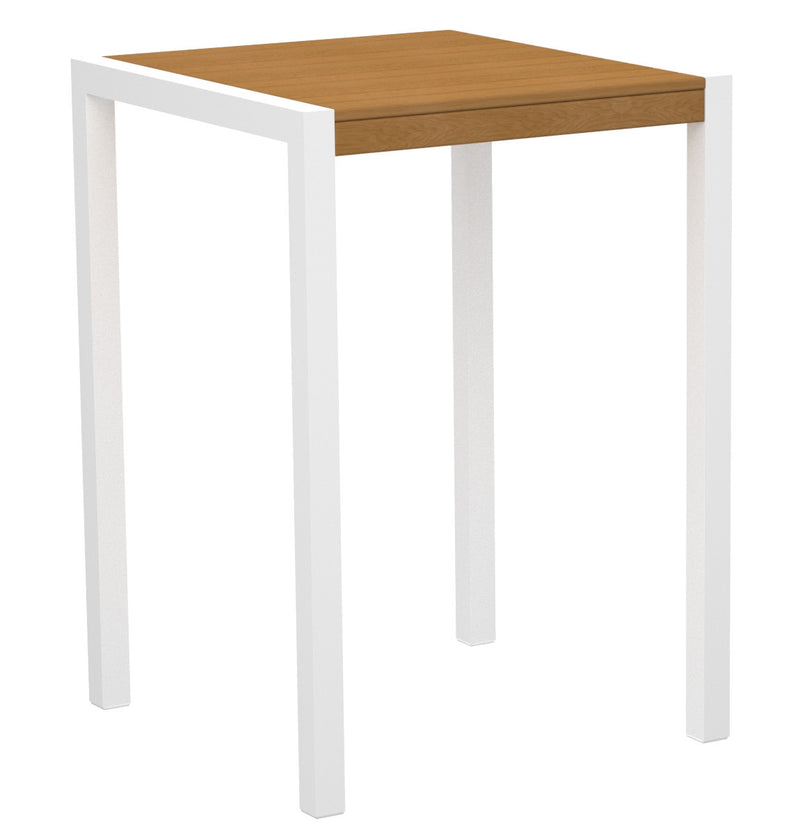 "8002-13NT MOD 30"" Bar Table in Satin White & Plastique Natural Teak"