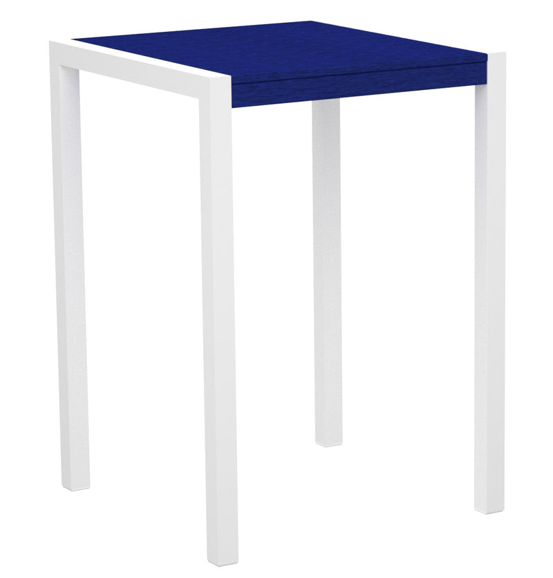 "8002-13PB MOD 30"" Bar Table in Satin White & Pacific Blue"