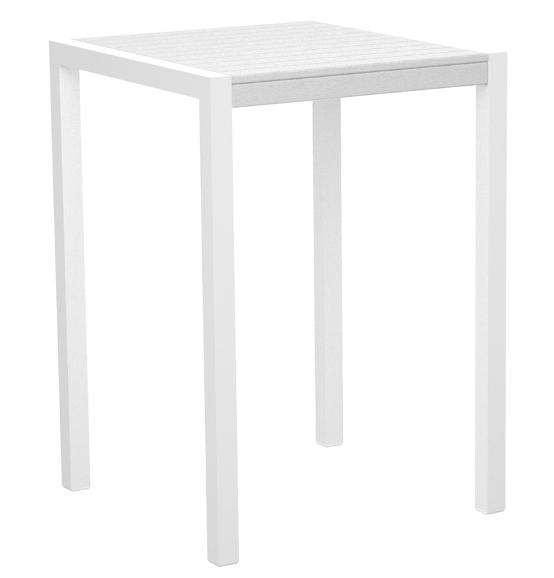 "8002-13WH MOD 30"" Bar Table in Satin White & White"