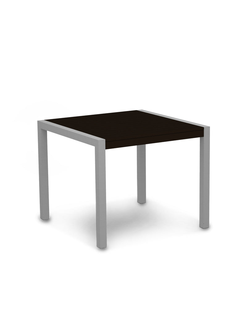 "8100-11MA MOD 36"" Dining Table in Textured Silver & Mahogany"