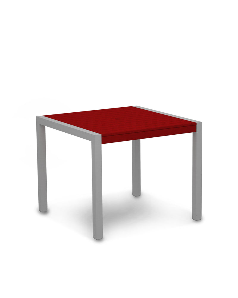 "8100-11SR MOD 36"" Dining Table in Textured Silver & Sunset Red"