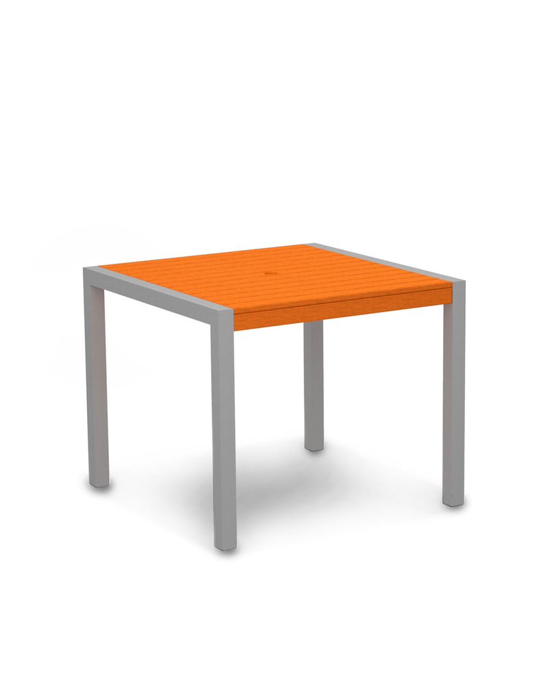 "8100-11TA MOD 36"" Dining Table in Textured Silver & Tangerine"