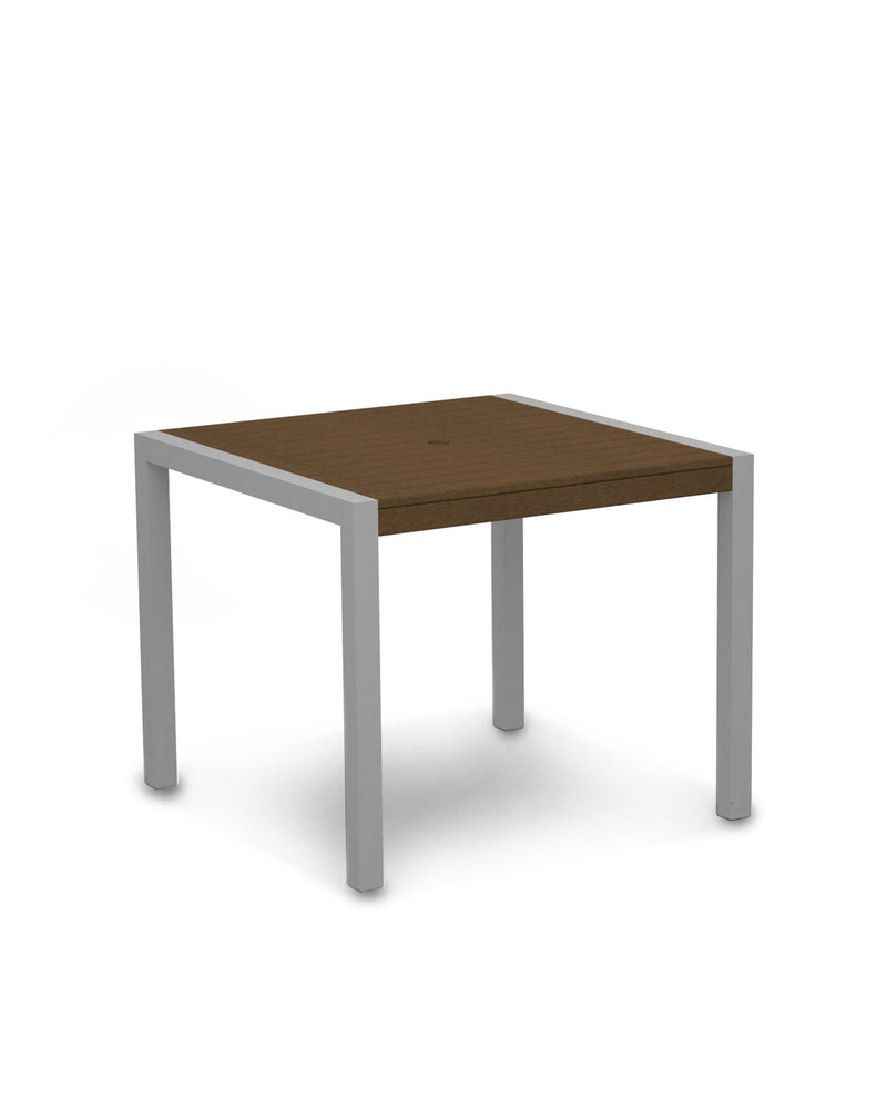 "8100-11TE MOD 36"" Dining Table in Textured Silver & Teak"