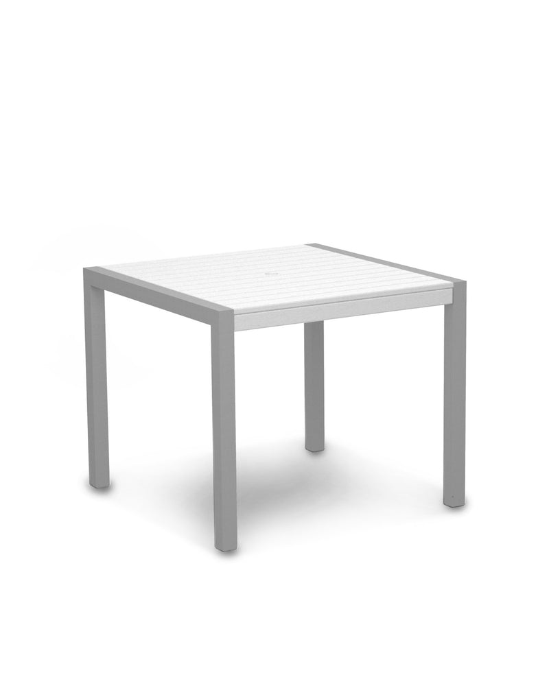 "8100-11WH MOD 36"" Dining Table in Textured Silver & White"