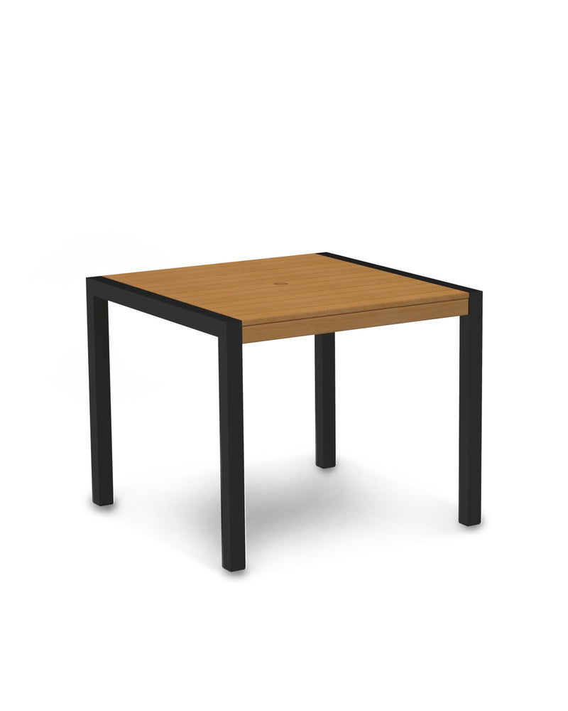 "8100-12NT MOD 36"" Dining Table in Textured Black & Plastique Natural Teak"