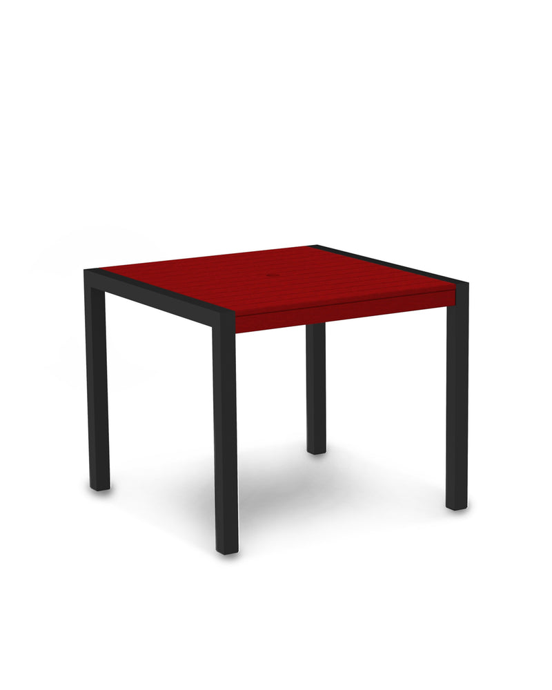 "8100-12SR MOD 36"" Dining Table in Textured Black & Sunset Red"