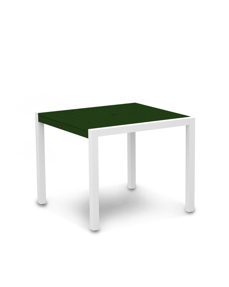 "8100-13GR MOD 36"" Dining Table in Satin White & Green"