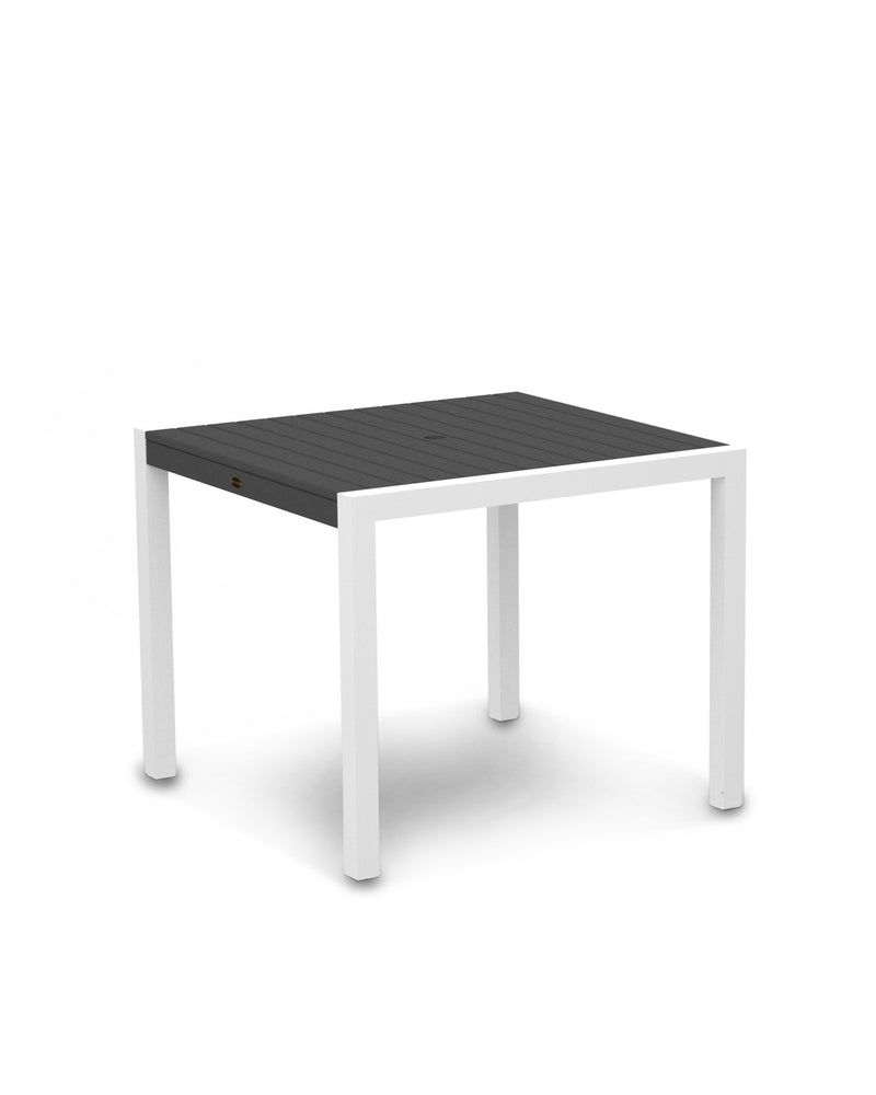 "8100-13GY MOD 36"" Dining Table in Satin White & Slate Grey"
