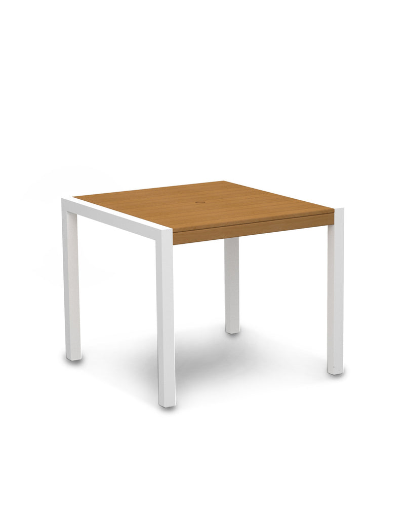 "8100-13NT MOD 36"" Dining Table in Satin White & Plastique Natural Teak"