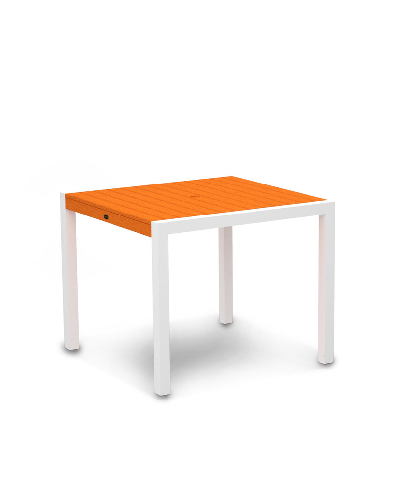 "8100-13TA MOD 36"" Dining Table in Satin White & Tangerine"