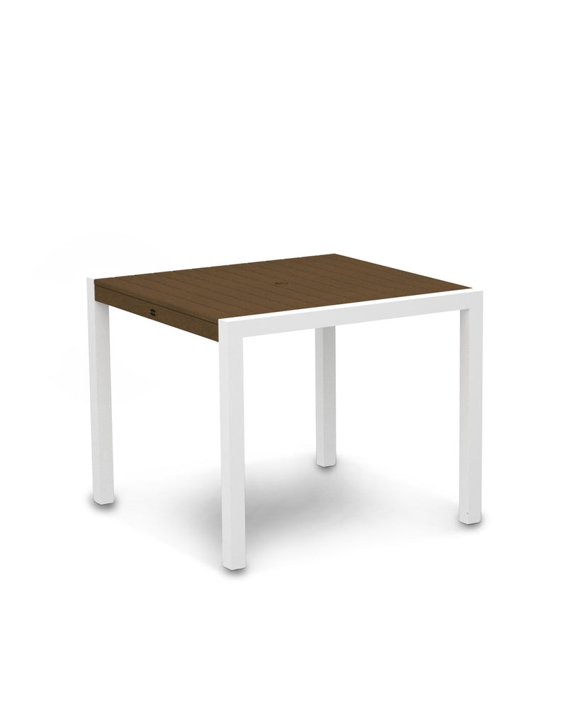"8100-13TE MOD 36"" Dining Table in Satin White & Teak"