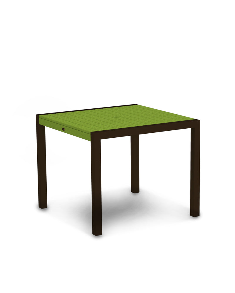 "8100-16LI MOD 36"" Dining Table in Textured Bronze & Lime"