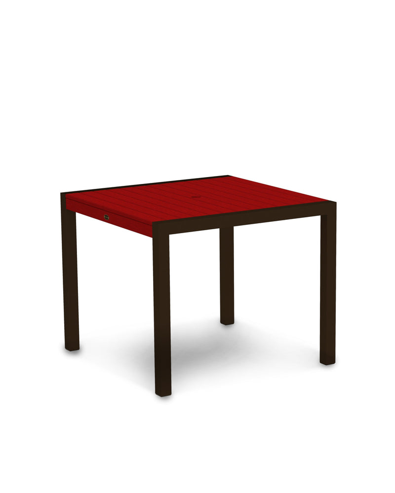 "8100-16SR MOD 36"" Dining Table in Textured Bronze & Sunset Red"