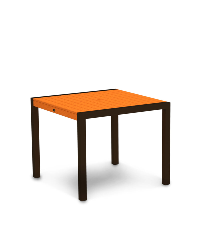 "8100-16TA MOD 36"" Dining Table in Textured Bronze & Tangerine"