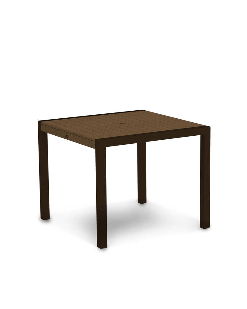 "8100-16TE MOD 36"" Dining Table in Textured Bronze & Teak"