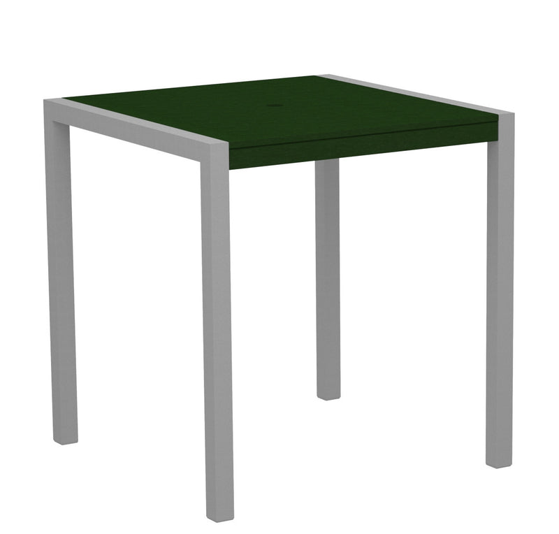 "8101-11GR MOD 36"" Counter Table in Textured Silver and Green"