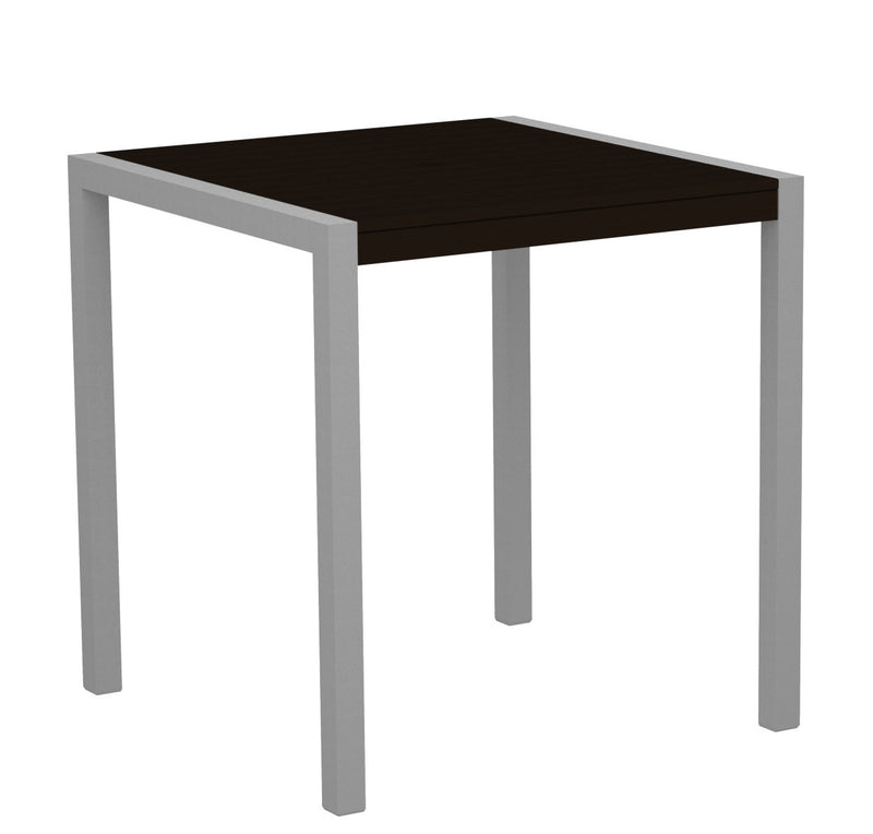 "8101-11MA MOD 36"" Counter Table in Textured Silver and Mahogany"
