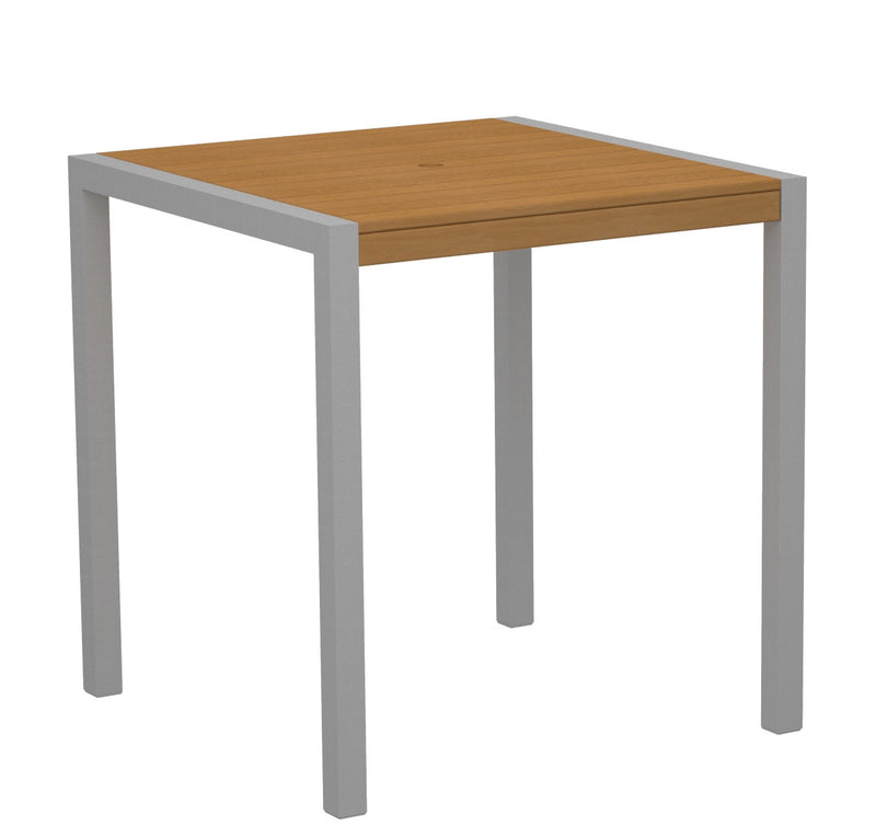 "8101-11NT MOD 36"" Counter Table in Textured Silver and Plastique Natural Teak"