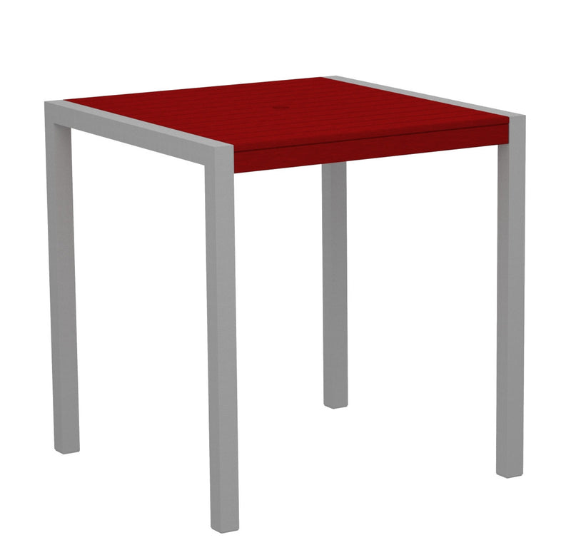 "8101-11SR MOD 36"" Counter Table in Textured Silver and Sunset Red"