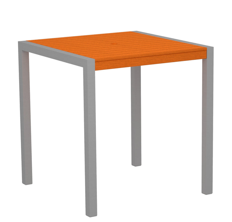 "8101-11TA MOD 36"" Counter Table in Textured Silver and Tangerine"