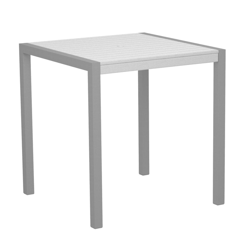 "8101-11WH MOD 36"" Counter Table in Textured Silver and White"