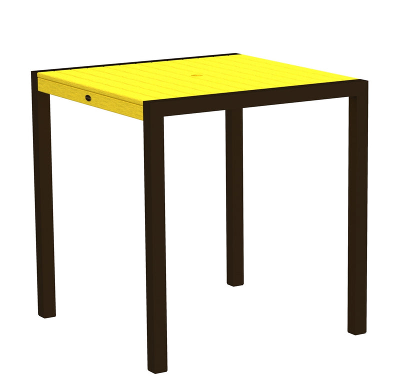 "8101-16LE MOD 36"" Counter Table in Textured Bronze and Lemon"