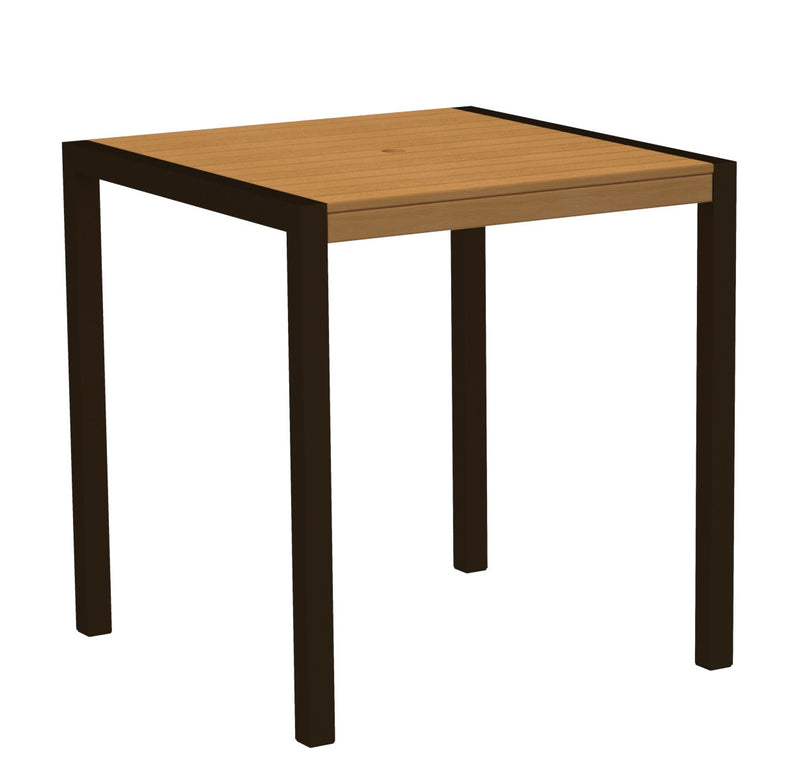 "8101-16NT MOD 36"" Counter Table in Textured Bronze and Plastique Natural Teak"