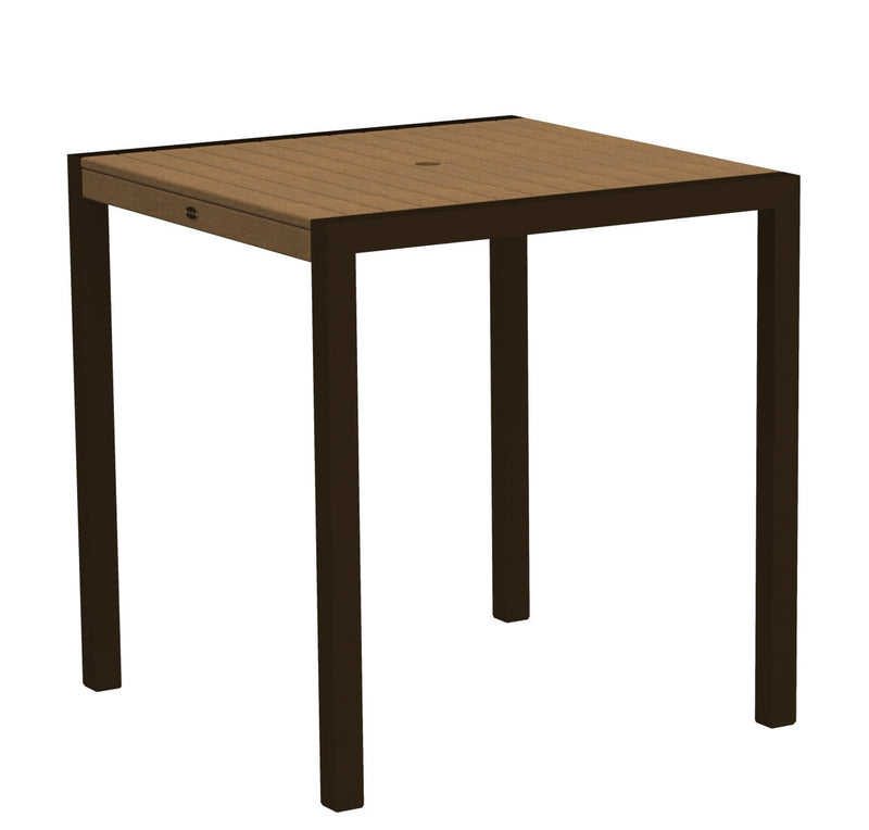 "8101-16TE MOD 36"" Counter Table in Textured Bronze and Teak"