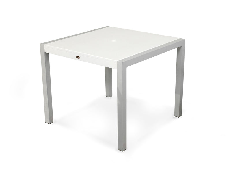 "8120-11MWH MOD SOLID 36"" Dining Table in Textured Silver and White"