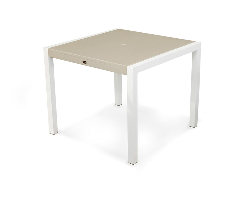 "8120-13MSA MOD SOLID 36"" Dining Table in Satin White and Sand"