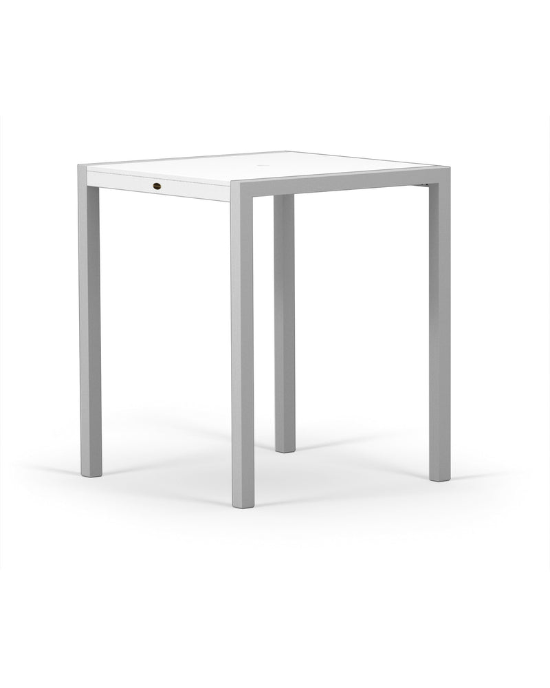 "8122-11MWH MOD SOLID 36"" Bar Table in Textured Silver and White"