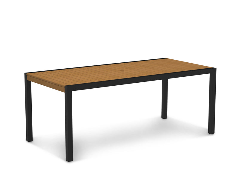 "8300-12NT MOD 36"" x 73"" Dining Table in Textured Black and Plastique Natural Teak"